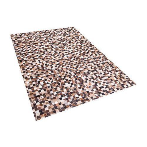 Dywan - brązowo-beżowy - skóra - patchwork - 160x230 cm - KONYA
