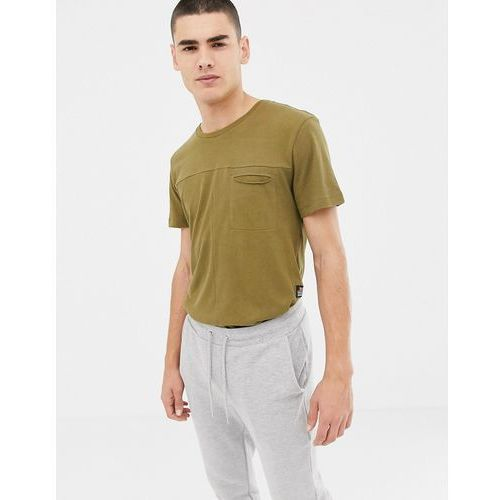 knitted t-shirt with pocket in olive - green marki Tom tailor
