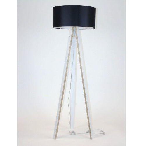 Ragaba Lampa podłogowa na trzech nogach drewniana z abażurem wanda - biała/czarny abażur