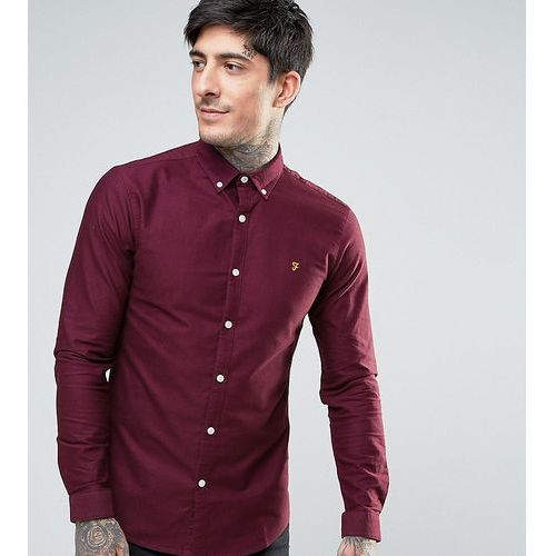 Farah Sansfer skinny fit oxford shirt in burgundy Exclusive at ASOS - Red