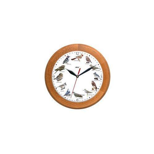 Zegar z głosami ptaków drewniany rondo #3A