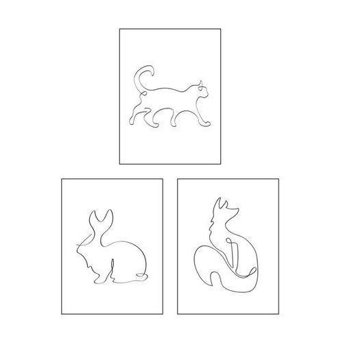 Art canvas Zestaw 3 plakatów zwierzęta 30 x 40 cm