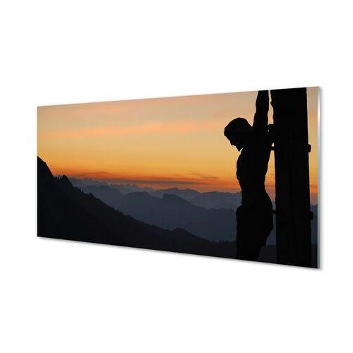 Obrazy akrylowe Ukrzyżowany Jezus zachód słońca