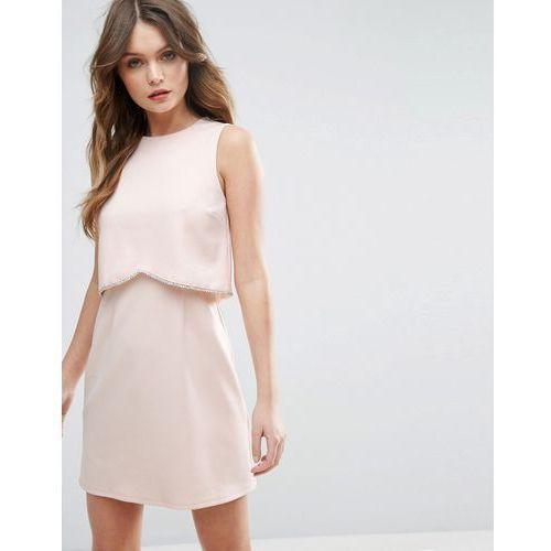 ASOS Scuba Crop Top With Embellished Trim Mini Dress - Pink