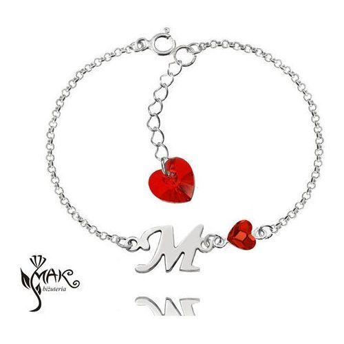 Mak-biżuteria Br894 bransoletka dowolny inicjał literka swarovski elements serce