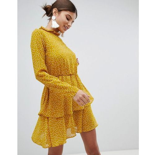 high neck polka dot dress - yellow, Missguided