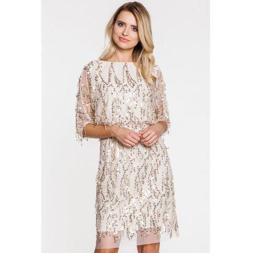 Cekinowa sukienka wieczorowa - L'ame de Femme, kolor beżowy