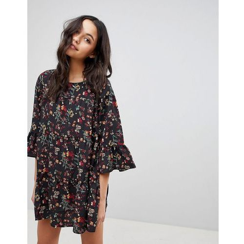 Qed london floral smock dress with frill - green