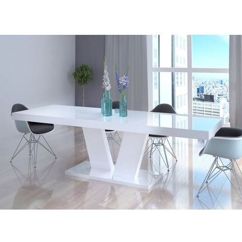 Stół vega luk rozkładany do 260 cm biały wysoki połysk marki Mato design