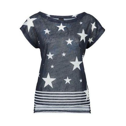 T-shirt bonprix ciemnoniebiesko-biały z nadrukiem, kolor wielokolorowy