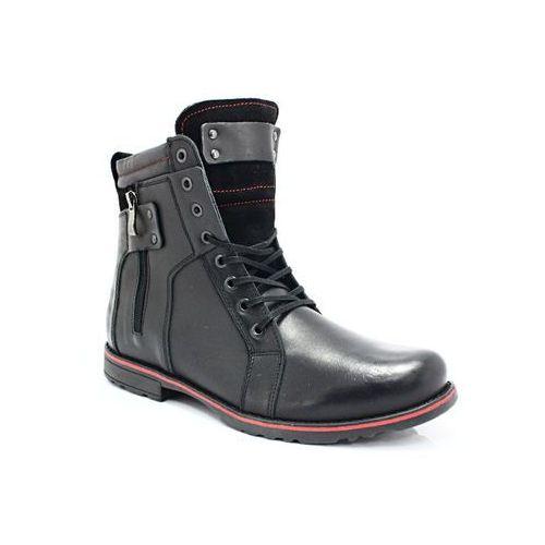 237 czarny - męskie buty zimowe skóra - czarny, Kent