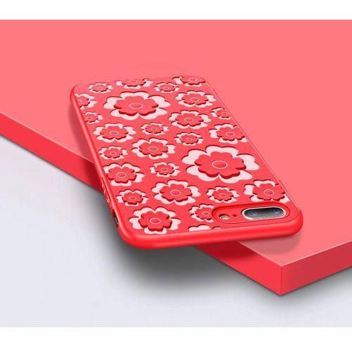 MSVII Flower elastyczne etui silikonowy pokrowiec kwiaty iPhone 8 Plus / 7 Plus czerwony, kolor czerwony