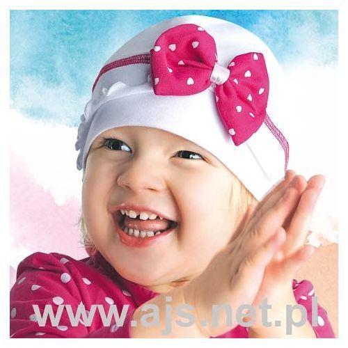 """Ajs Czapka 28-076 """"różowa"""" 24h 52-54 cm, różowa z białą kokardą. ajs, 52-54 cm"""