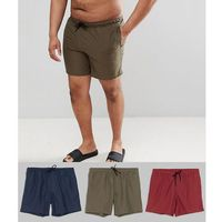 plus swim shorts 3 pack in khaki & navy & burgundy mid length - multi, Asos design, XXL-XXXXL