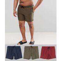plus swim shorts 3 pack in khaki & navy & burgundy mid length - multi, Asos design, XXL-XXXXL