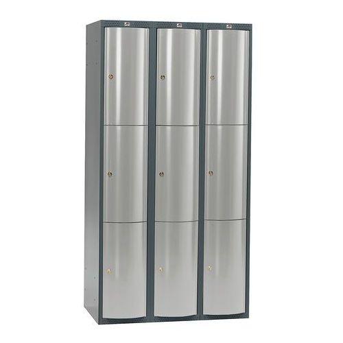Metalowa szafa ubraniowa curve, 3x3 drzwi, 1740x900x550 mm, niebieski marki Aj produkty