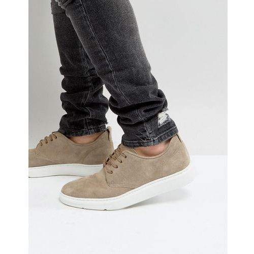 ASOS Lace Up Derby Shoes In Grey Suede With Hybrid Sole - Grey