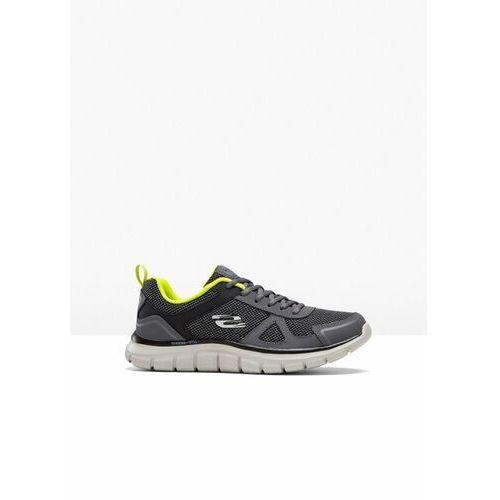 Sneakersy Skechers z pianką Memory bonprix ciemnoszaro-limonka, kolor szary