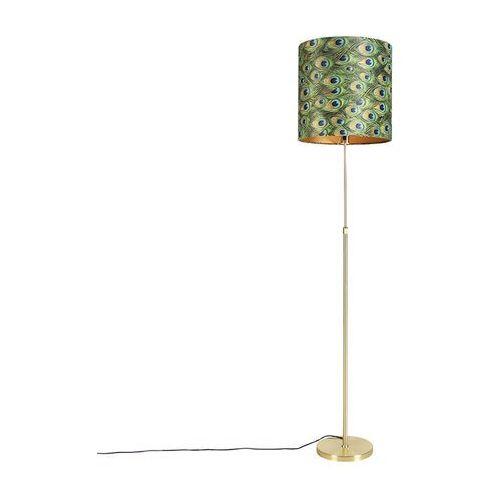 Qazqa Lampa podłogowa regulowana złota/mosiądz klosz welurowy pawie oczka 40cm - parte