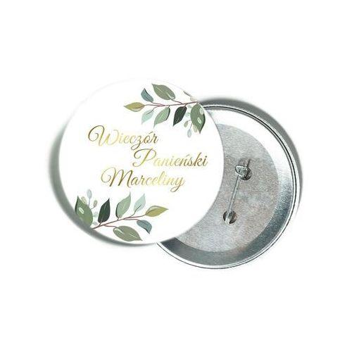 Przypinka personalizowana biała ze złotym napisem oraz liśćmi na Wieczór Panieński (5907509945410)