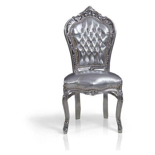 Design by impresje24 Barokowe, dekoracyjne krzesło kair, srebrna rama, srebrne obicie z ekologicznej skóry.