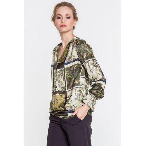 Zielona bluzka w kwiaty z dekoltem w kształcie litery v dove - marki Tova