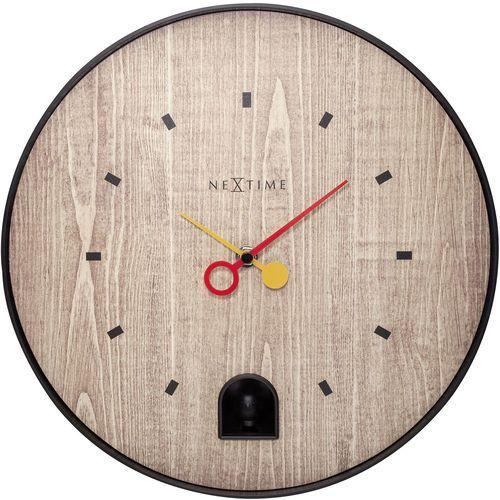 Zegar z czarnym słowikiem Nextime Nightingale 30 cm (5220 ZW), kolor czarny