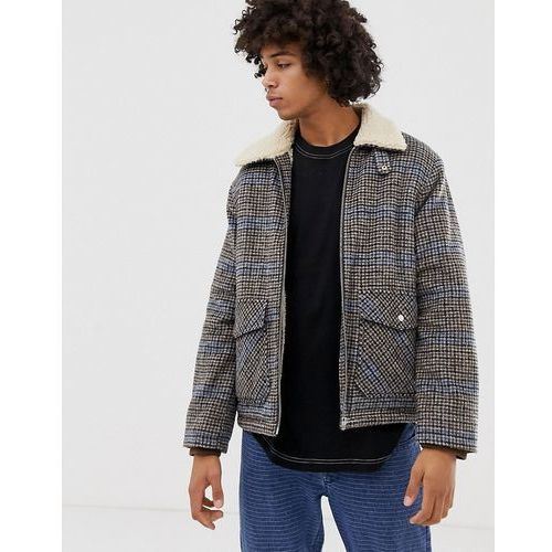Weekday justus check borg lined coach jacket - beige