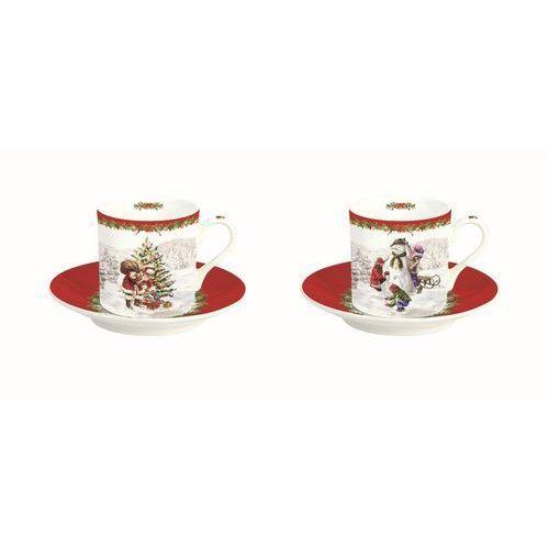 zestaw filiżanka ze spodkiem espresso christmas time porcelana 75ml (2szt), 75ml marki Dekoria