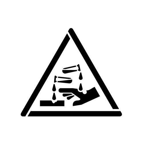 Szablon do malowania Znak ostrzeżenie przed substancjami żrącymi GW023 - 17x20 cm