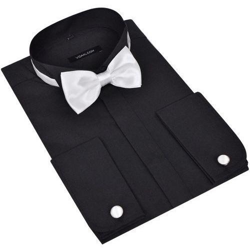 vidaXL Męska koszula smokingowa ze spinkami do mankietów i muszka XL czarna (8718475889960)