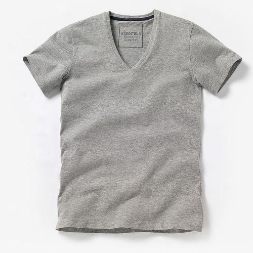 T-shirt z głębokim dekoltem V, jednobarwny, z krótkim rękawem