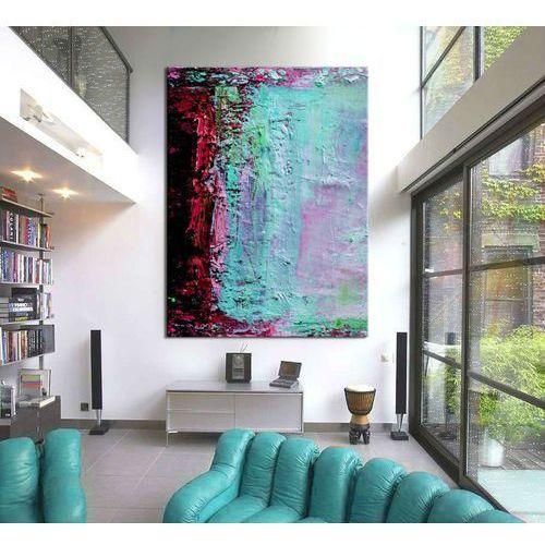 Duże obrazy ręcznie malowane - turkusowa abstrakcja marki Pracownia art.&texture