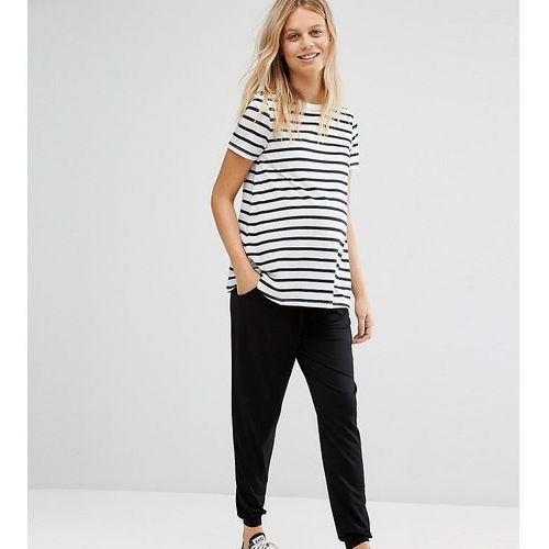 ASOS Maternity PETITE Jersey Peg Trouser With Draw Cord Waist - Black, kolor czarny