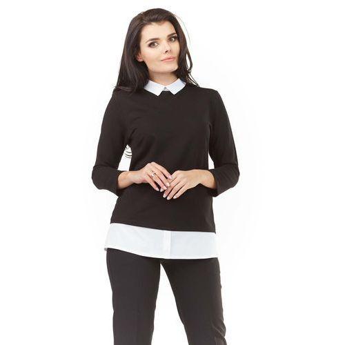 Czarna Elegancka Bluzka 2 w 1 z Białym Kołnierzykiem, kolor czarny