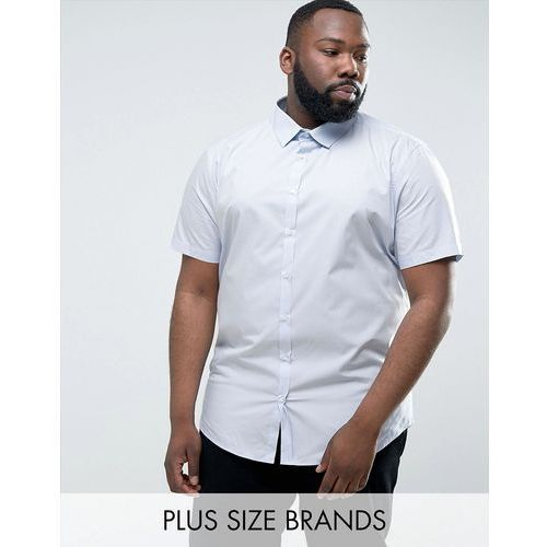 River Island PLUS Smart Shirt With Short Sleeves In Light Blue - Blue