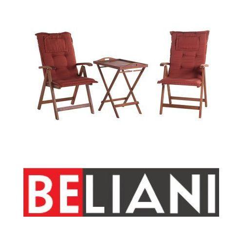 Beliani Meble balkonowe drewno akacjowe ceglaste poduchy toscana (4260580937868)