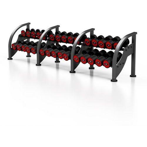 Zestaw hantli stalowych gumowanych 5-40 kg ze stojakiem - czerwony marki Marbo sport