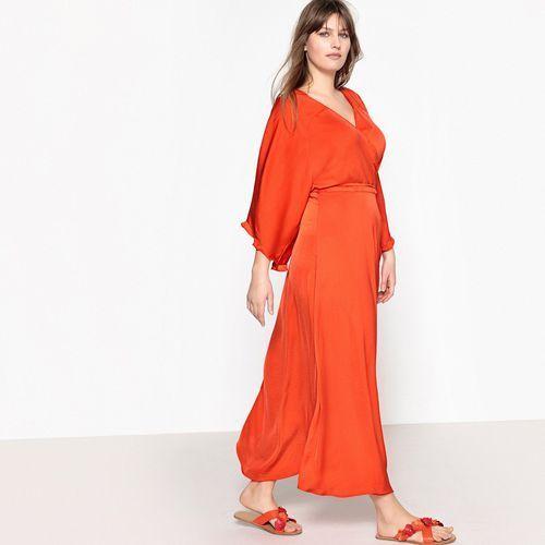 Sukienka kopertówka długa rozkloszowana, krótki rękaw, Castaluna