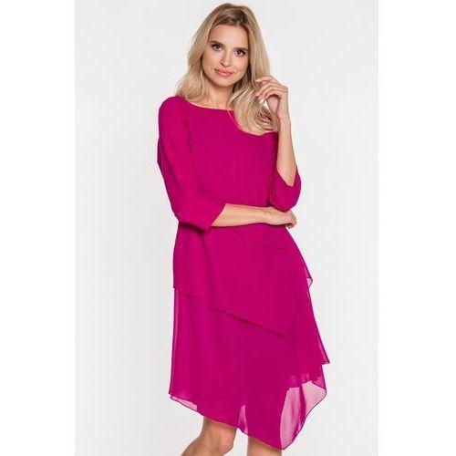 Szyfonowa sukienka z broszką, 1 rozmiar