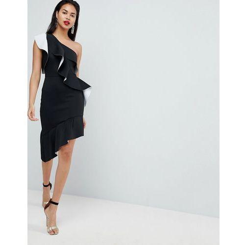 mono one shoulder ruffle mini dress - black marki Asos