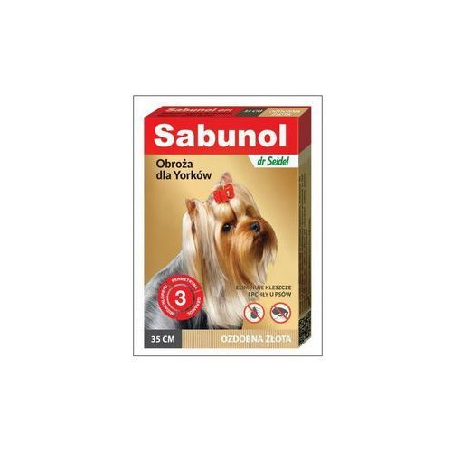 Dermapharm Sabunol obroża ozdobna złota przeciw pchłom i kleszczom dla yorków 35 cm
