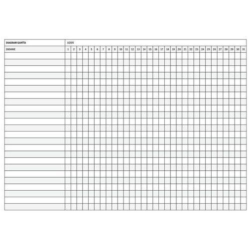 magnetyczna suchościeralna tablica diagram Gantta 074 podział na dni miesiąca