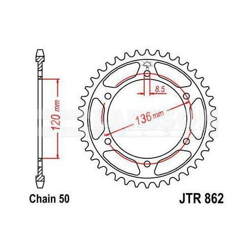Zębatka tylna stalowa JT R862-38, 38Z, rozmiar 530 2302439 Yamaha XJ 600