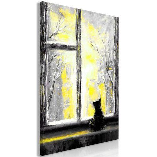 Obraz - tęskniący kotek (1-częściowy) pionowy żółty marki Artgeist