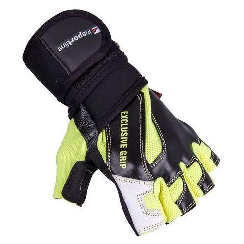 Insportline Skórzane rękawice do ćwiczeń fitness na siłownie perian, czarno-żółty, l