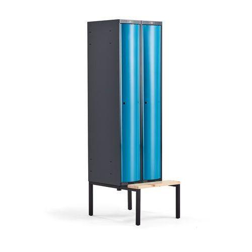 Aj produkty Metalowa szafa ubraniowa curve, z ławeczką, 2x1 drzwi, 2120x600x550 mm, niebieski