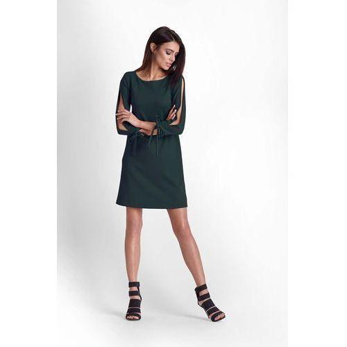 Ivon Zielona trapezowa sukienka z rozciętymi rękawami