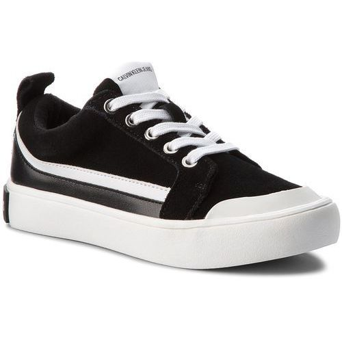 Calvin klein Trampki jeans - dodie r0792 black/white/black