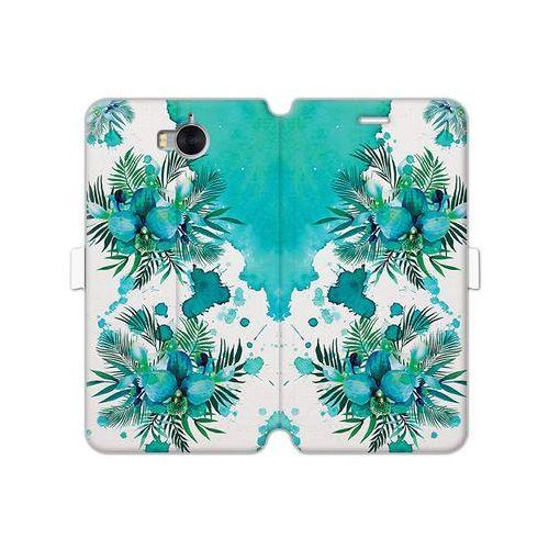 Huawei Y6 (2017) - etui na telefon Wallet Book Fantastic - turkusowa orchidea, kolor niebieski